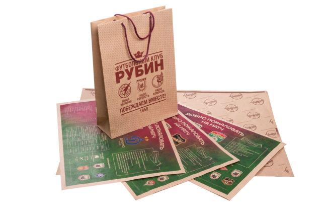 Пакет и рекламные материалы для футбольного клуба «Рубин»: «Побеждаем вместе»